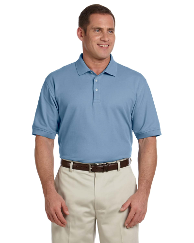 Slate Blue Men's Pima Pique Short-Sleeve Polo as seen from the front