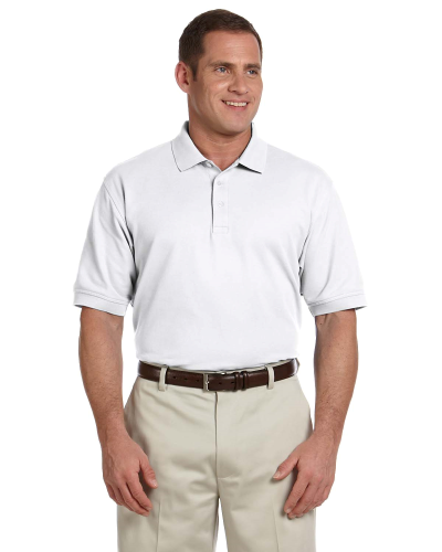 White Men's Pima Pique Short-Sleeve Polo as seen from the front