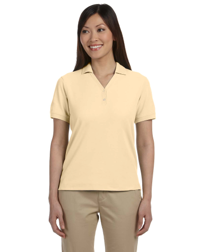 Butter Ladies' Pima Pique Short-Sleeve Y-Collar Polo as seen from the front
