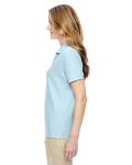 Crystal Blue Ladies' Pima Pique Short-Sleeve Y-Collar Polo as seen from the sleeveright