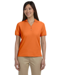 Deep Orange Ladies' Pima Pique Short-Sleeve Y-Collar Polo as seen from the front