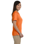 Deep Orange Ladies' Pima Pique Short-Sleeve Y-Collar Polo as seen from the sleeveleft