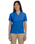 French Blue Ladies' Pima Pique Short-Sleeve Y-Collar Polo as seen from the front