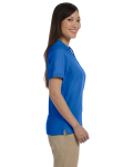 French Blue Ladies' Pima Pique Short-Sleeve Y-Collar Polo as seen from the sleeveleft
