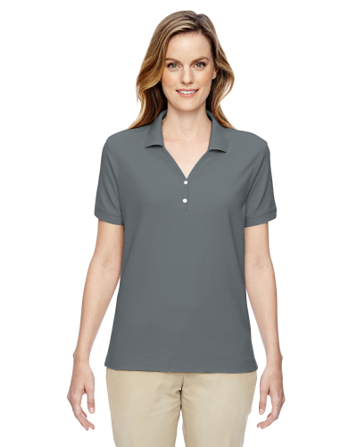 Graphite Ladies' Pima Pique Short-Sleeve Y-Collar Polo as seen from the front