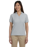 Grey Heather Ladies' Pima Pique Short-Sleeve Y-Collar Polo as seen from the front