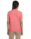 Melon Ladies' Pima Pique Short-Sleeve Y-Collar Polo as seen from the back