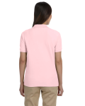 Pink Ladies' Pima Pique Short-Sleeve Y-Collar Polo as seen from the back