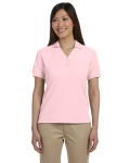 Pink Ladies' Pima Pique Short-Sleeve Y-Collar Polo as seen from the front