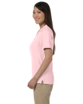 Pink Ladies' Pima Pique Short-Sleeve Y-Collar Polo as seen from the sleeveright