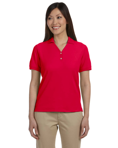 Red Ladies' Pima Pique Short-Sleeve Y-Collar Polo as seen from the front