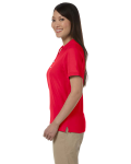 Red Ladies' Pima Pique Short-Sleeve Y-Collar Polo as seen from the sleeveright