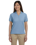 Slate Blue Ladies' Pima Pique Short-Sleeve Y-Collar Polo as seen from the front