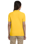 Sunray Yellow Ladies' Pima Pique Short-Sleeve Y-Collar Polo as seen from the back