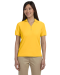 Sunray Yellow Ladies' Pima Pique Short-Sleeve Y-Collar Polo as seen from the front