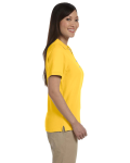 Sunray Yellow Ladies' Pima Pique Short-Sleeve Y-Collar Polo as seen from the sleeveleft