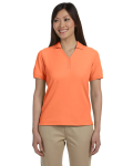 Tangerine Ladies' Pima Pique Short-Sleeve Y-Collar Polo as seen from the front