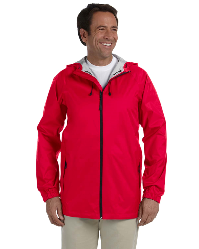 Red Men's Waterproof Tech-Shell Torrent Jacket as seen from the front