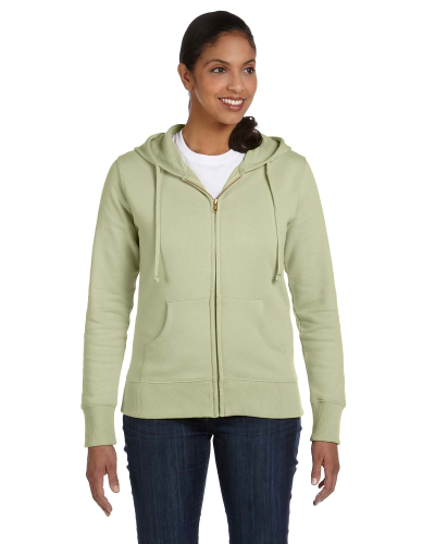 Celery Ladies' 9 oz. Organic/Recycled Full-Zip Hood as seen from the front