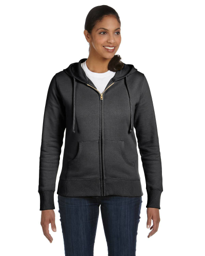 Charcoal Ladies' 9 oz. Organic/Recycled Full-Zip Hood as seen from the front