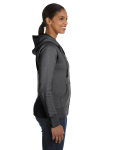 Charcoal Ladies' 9 oz. Organic/Recycled Full-Zip Hood as seen from the sleeveleft