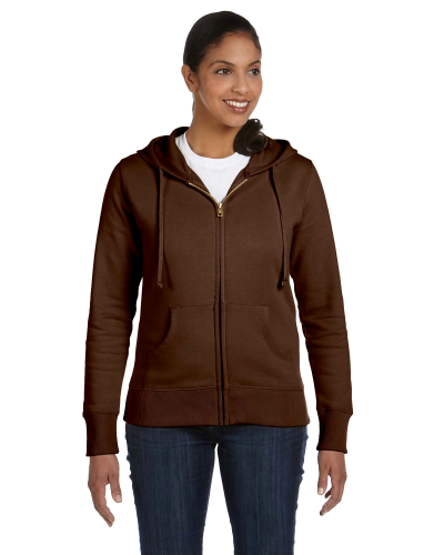 Earth Ladies' 9 oz. Organic/Recycled Full-Zip Hood as seen from the front