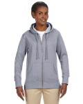 Athletic Grey Ladies' 7 oz. Organic/Recycled Heathered Fleece Full-Zip Hood as seen from the front
