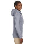 Athletic Grey Ladies' 7 oz. Organic/Recycled Heathered Fleece Full-Zip Hood as seen from the sleeveleft
