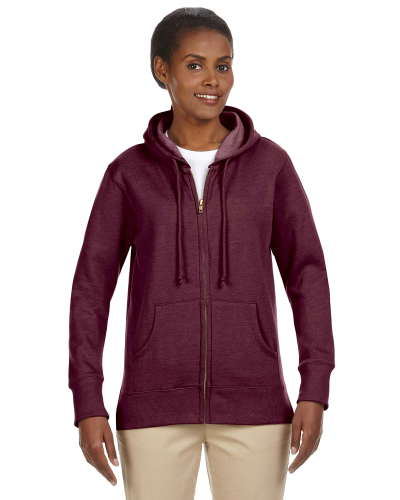 Berry Ladies' 7 oz. Organic/Recycled Heathered Fleece Full-Zip Hood as seen from the front