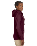 Berry Ladies' 7 oz. Organic/Recycled Heathered Fleece Full-Zip Hood as seen from the sleeveleft