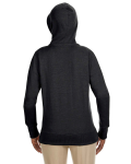 Charcoal Ladies' 7 oz. Organic/Recycled Heathered Fleece Full-Zip Hood as seen from the back