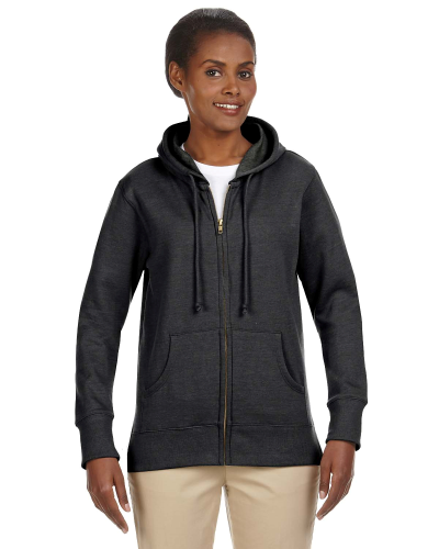 Charcoal Ladies' 7 oz. Organic/Recycled Heathered Fleece Full-Zip Hood as seen from the front