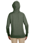 Military Green Ladies' 7 oz. Organic/Recycled Heathered Fleece Full-Zip Hood as seen from the back