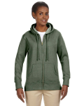 Military Green Ladies' 7 oz. Organic/Recycled Heathered Fleece Full-Zip Hood as seen from the front