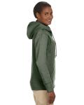 Military Green Ladies' 7 oz. Organic/Recycled Heathered Fleece Full-Zip Hood as seen from the sleeveleft