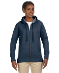 Water Ladies' 7 oz. Organic/Recycled Heathered Fleece Full-Zip Hood as seen from the front