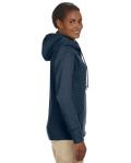 Water Ladies' 7 oz. Organic/Recycled Heathered Fleece Full-Zip Hood as seen from the sleeveleft