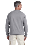 Athletic Grey 7 oz. Organic/Recycled Heathered Fleece Raglan Crew as seen from the back