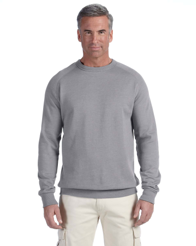 Athletic Grey 7 oz. Organic/Recycled Heathered Fleece Raglan Crew as seen from the front