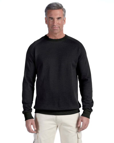 Charcoal 7 oz. Organic/Recycled Heathered Fleece Raglan Crew as seen from the front