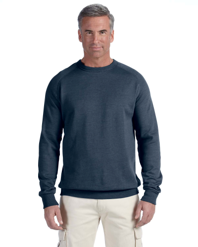 Water 7 oz. Organic/Recycled Heathered Fleece Raglan Crew as seen from the front