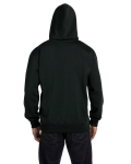 Black 9 oz. Organic/Recycled Pullover Hood as seen from the back