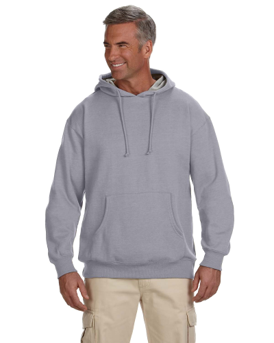 Athletic Grey 7 oz. Organic/Recycled Heathered Fleece Pullover Hood as seen from the front