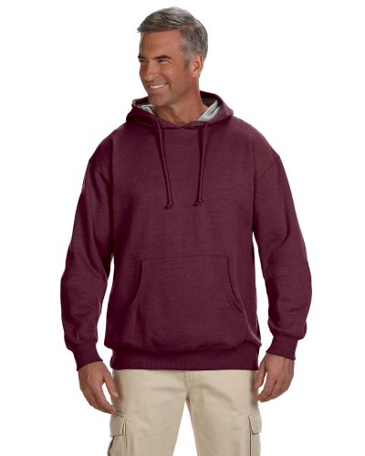 Berry 7 oz. Organic/Recycled Heathered Fleece Pullover Hood as seen from the front