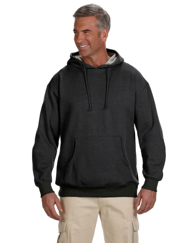 Charcoal 7 oz. Organic/Recycled Heathered Fleece Pullover Hood as seen from the front