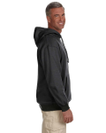 Charcoal 7 oz. Organic/Recycled Heathered Fleece Pullover Hood as seen from the sleeveleft