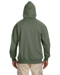 Military Green 7 oz. Organic/Recycled Heathered Fleece Pullover Hood as seen from the back