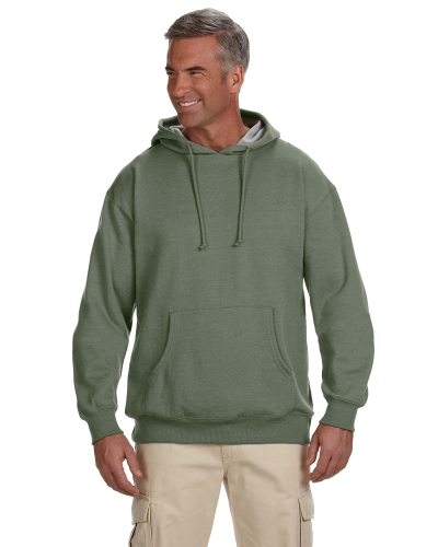 Military Green 7 oz. Organic/Recycled Heathered Fleece Pullover Hood as seen from the front