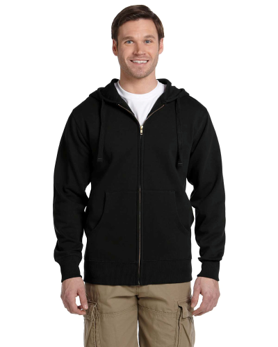 Black Men's 9 oz. Organic/Recycled Full-Zip Hood as seen from the front