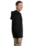 Black Men's 9 oz. Organic/Recycled Full-Zip Hood as seen from the sleeveleft